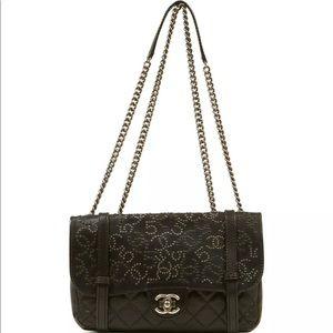 100AUTH CHANEL Black Leather Symbols Flap Bag HGrl